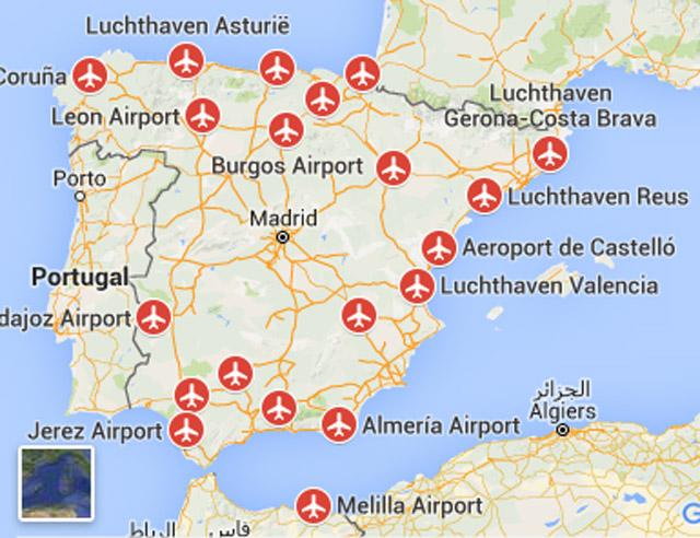 Vliegvelden Luchthavens In Spanje
